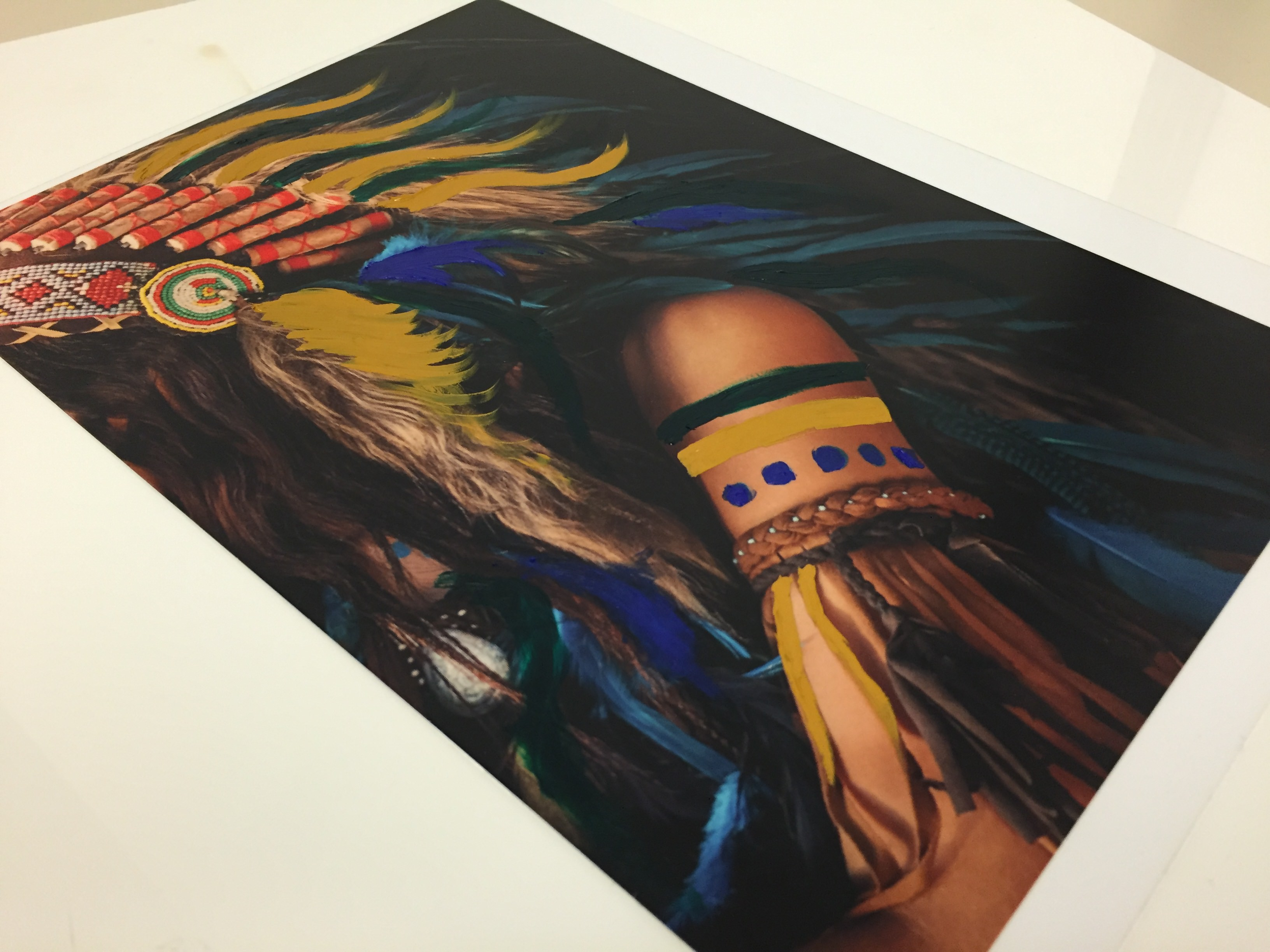 embellishing laminated aqueous metal prints oil