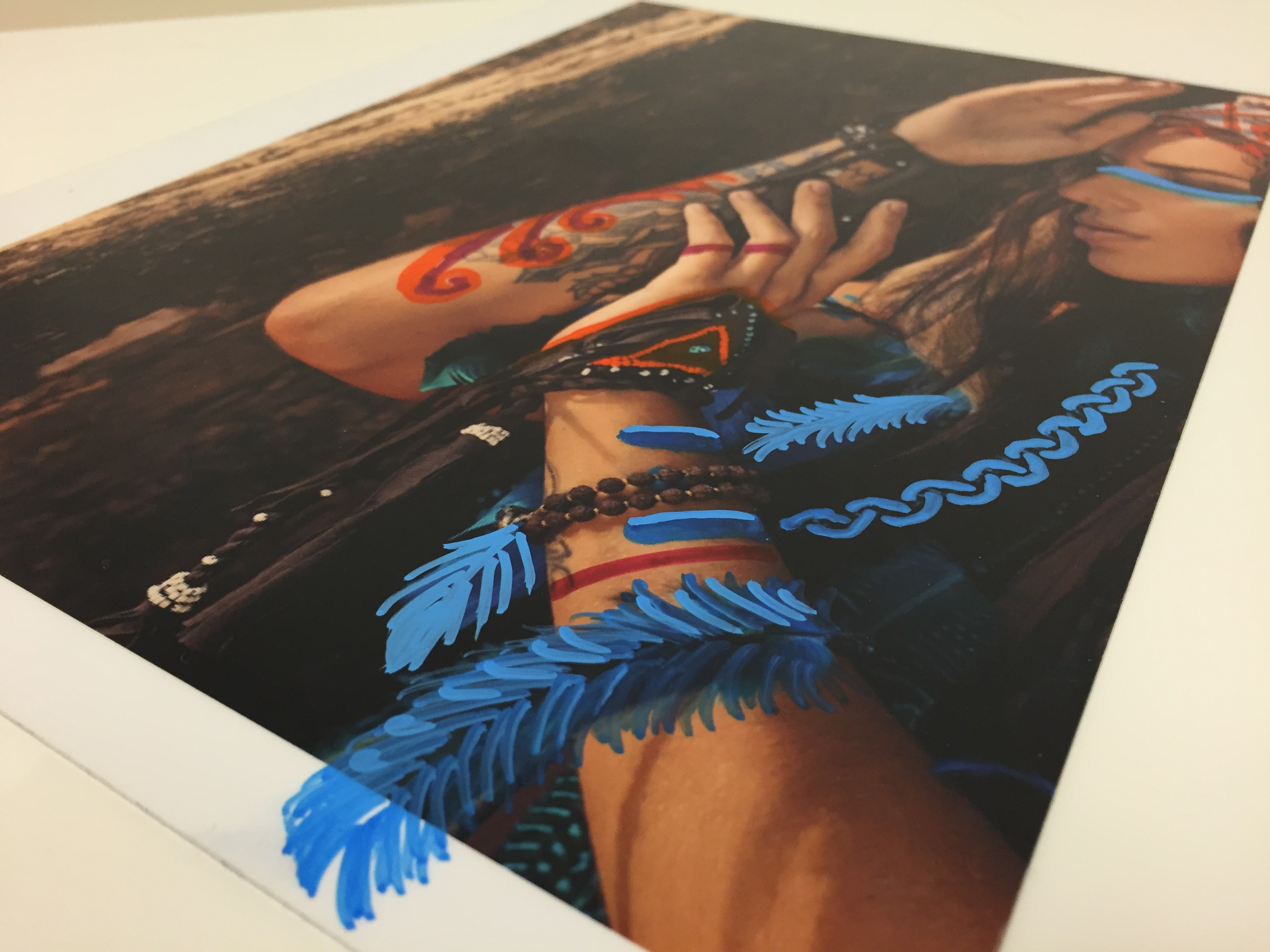 embellishing laminated aqueous metal prints sharpie