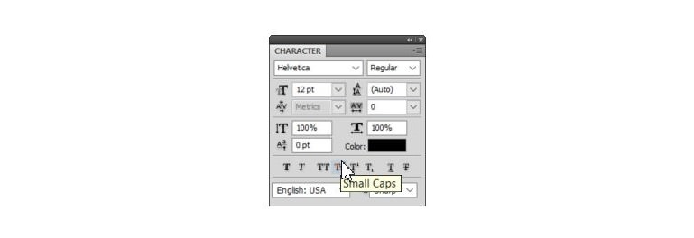 photoshop typography where to find small caps