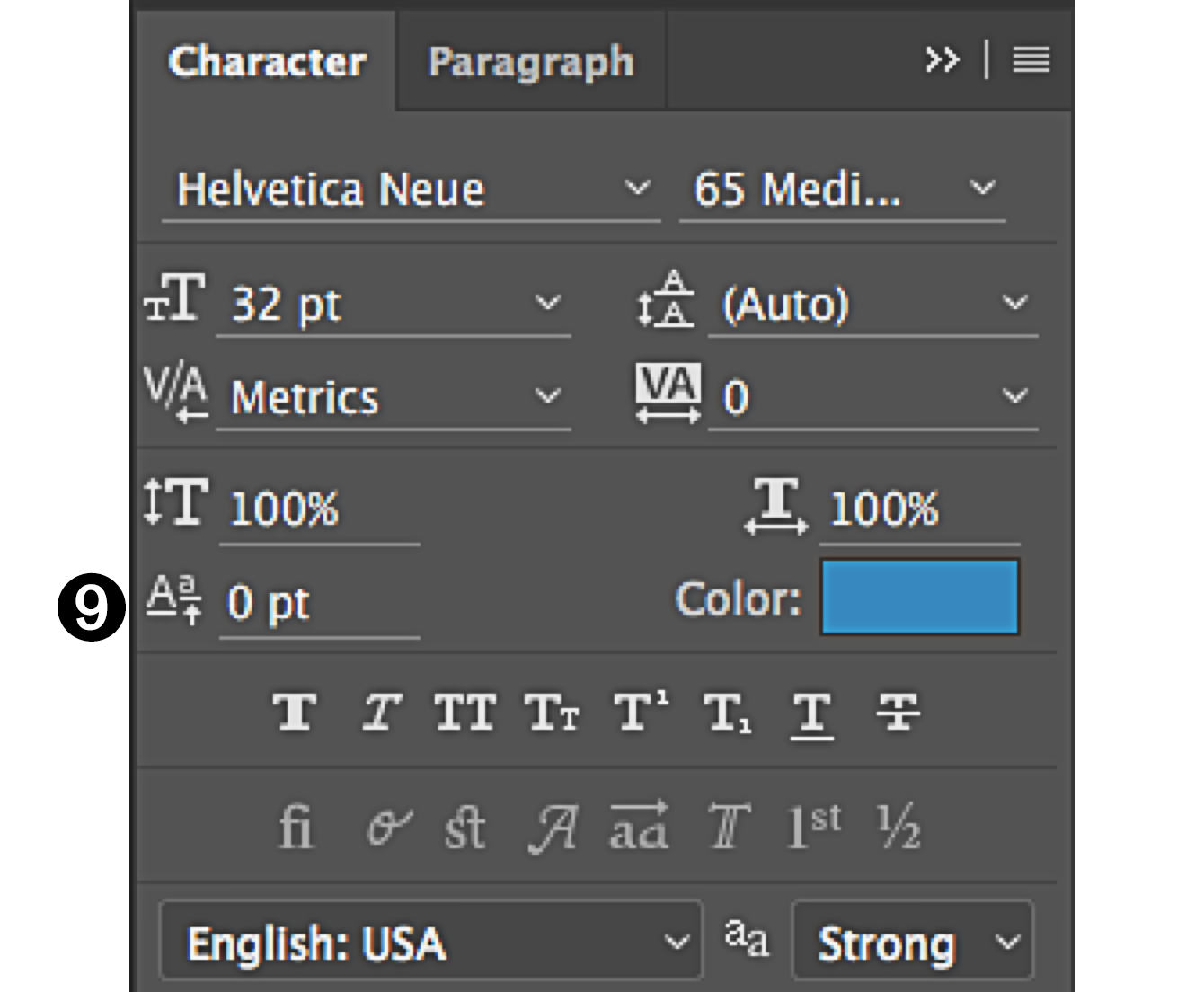 character panel in Photoshop baseline shift tool