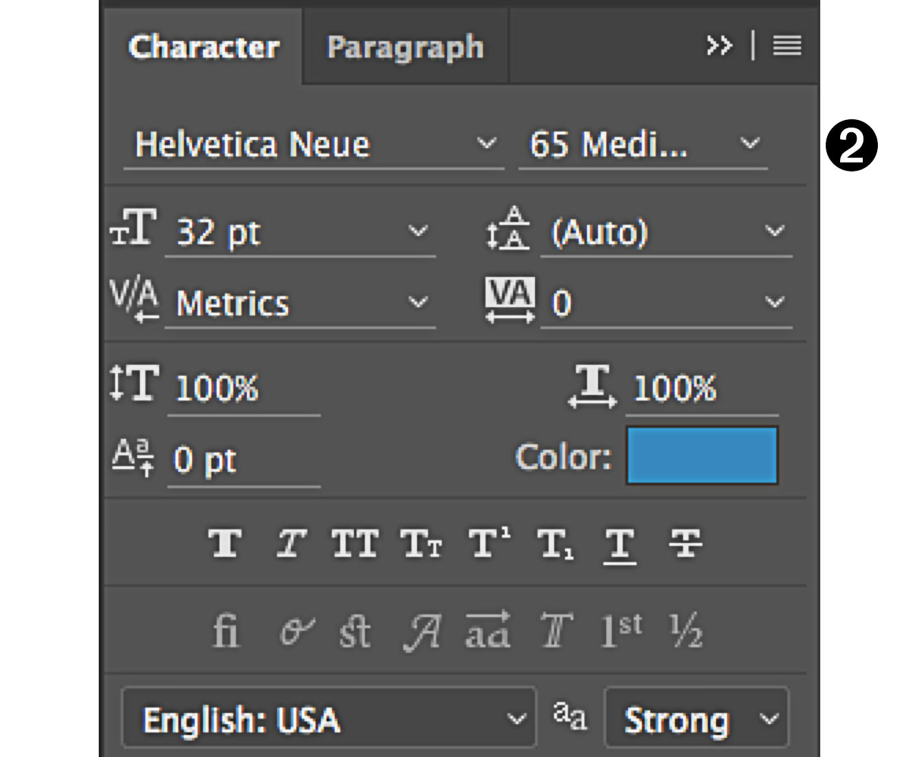 character panel in Photoshop style of font