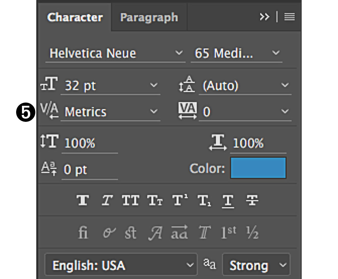character panel in Photoshop select kerning