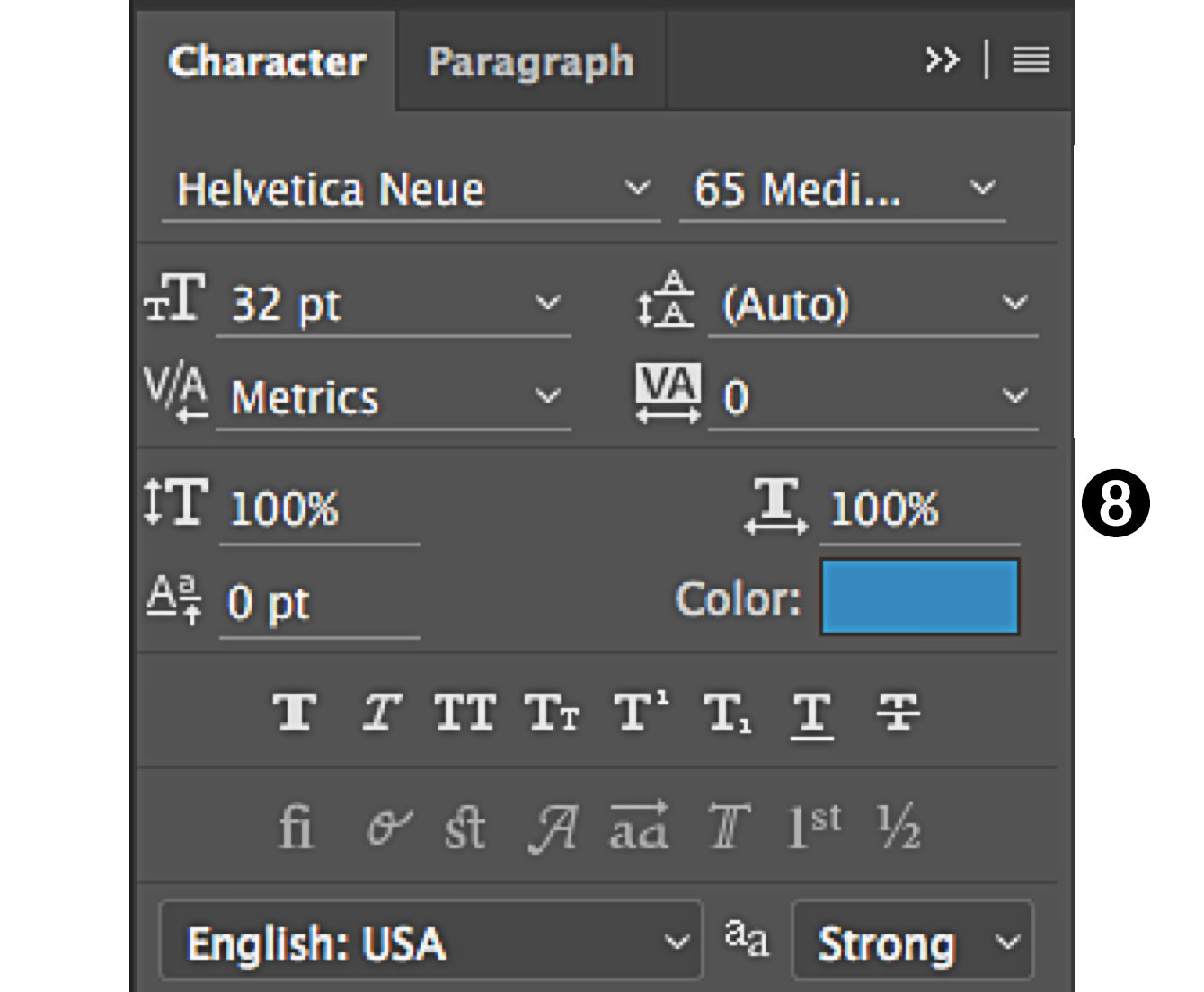 character panel in Photoshop scale fonts type width